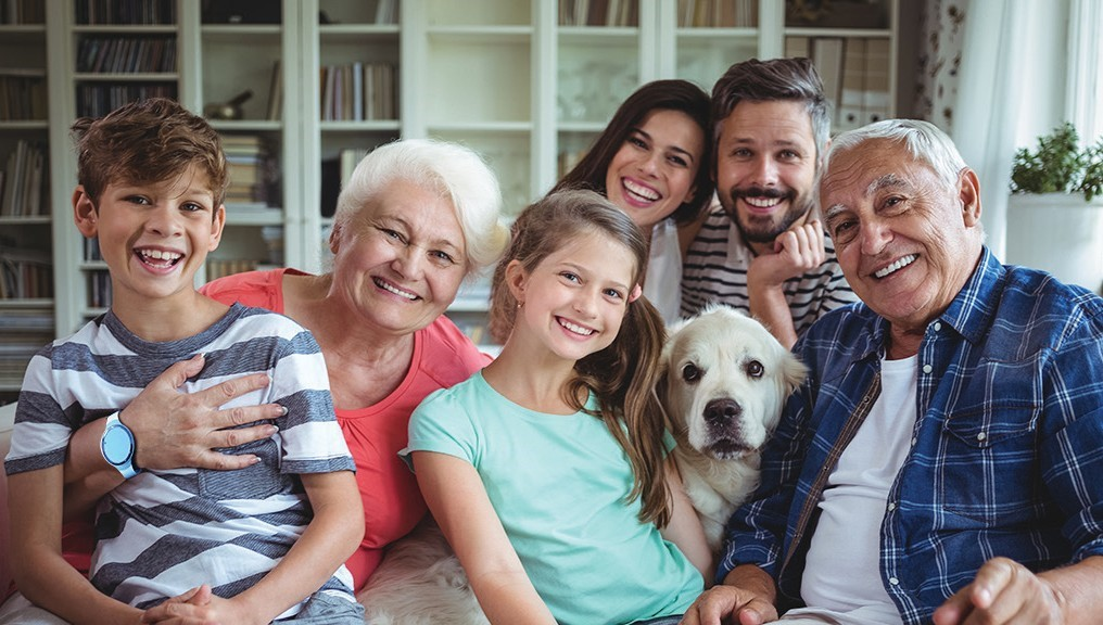 Family with grandparents and dog