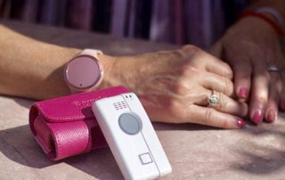 The Electronic Care Giver's advanced medical alert system is offering rose gold wristband.