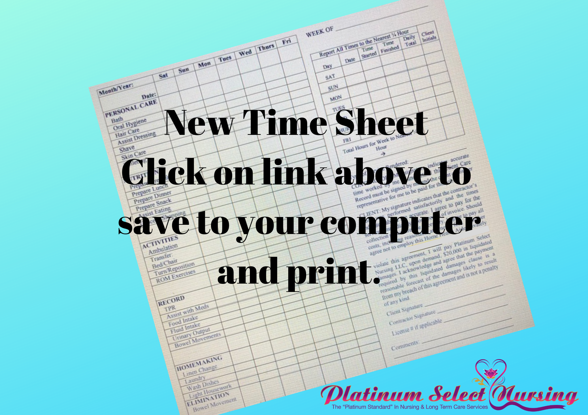 Platinum Select New Timesheets